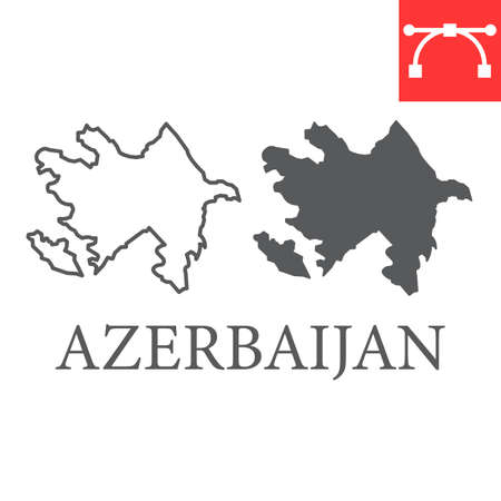 Map of Azerbaijan line and glyph icon, country and geography, azerbaijan map sign vector graphics, editable stroke linear icon.
