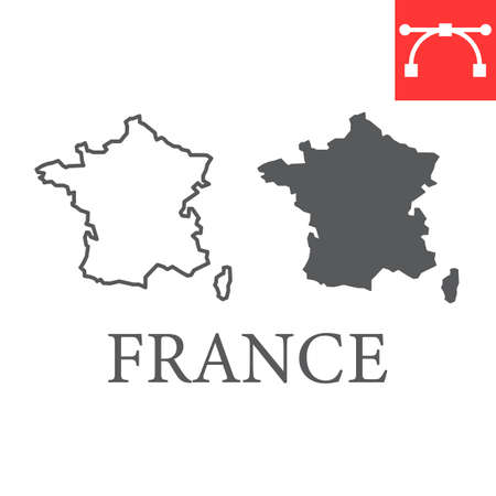 Map of France line and glyph icon, country and geography, france map sign vector graphics, editable stroke linear icon. Illusztráció