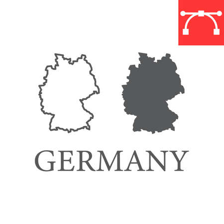 Map of Germany line and glyph icon, country and geography, germany map sign vector graphics, editable stroke linear icon.