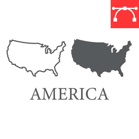 Map of USA line and glyph icon, country and north america, usa map sign vector graphics, editable stroke linear icon.