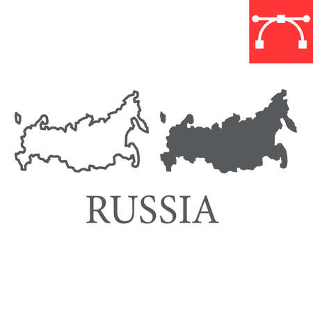 Map of Russia line and glyph icon, country and geography, russia map sign vector graphics, editable stroke linear icon.