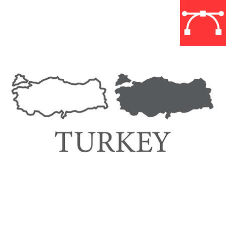 Map of Turkey line and glyph icon, country and geography, turkey map sign vector graphics, editable stroke linear icon. Illusztráció