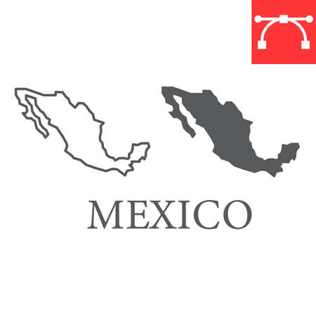 Map of Mexico line and glyph icon, country and geography, mexico map sign vector graphics, editable stroke linear icon. Illusztráció