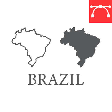 Map of Brazil line and glyph icon, country and geography, brazil map sign vector graphics, editable stroke linear icon.