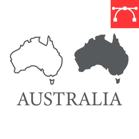 Map of Australia line and glyph icon, country and geography, australia map sign vector graphics, editable stroke linear icon.