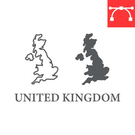 Map of United Kingdom line and glyph icon, country and geography, Great Britain map sign vector graphics, editable stroke linear icon.