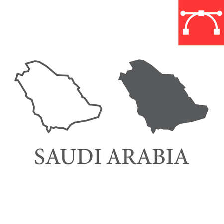 Map of Saudi Arabia line and glyph icon, country and geography, saudi arabia map sign vector graphics, editable stroke linear icon.