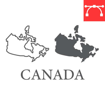 Map of Canada line and glyph icon, country and geography, canada map sign vector graphics, editable stroke linear icon.