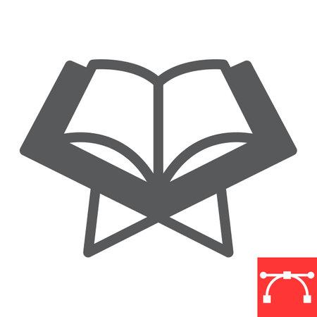 Open quran book glyph icon, Happy Ramadan and religion, koran book vector icon, vector graphics, editable stroke solid sign