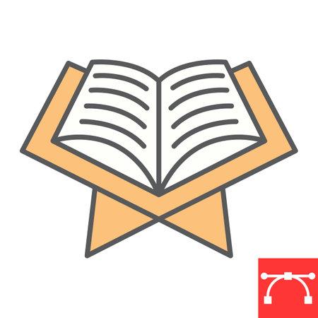 Open quran book color line icon, Happy Ramadan and religion, koran book vector icon, vector graphics, editable stroke filled outline sign 向量圖像