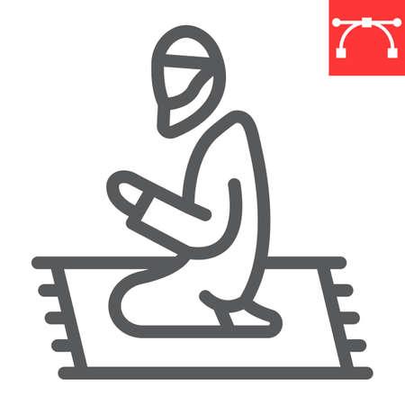 Muslim Prayer line icon, Happy Ramadan and religion, islamic prayer vector icon, vector graphics, editable stroke outline sign