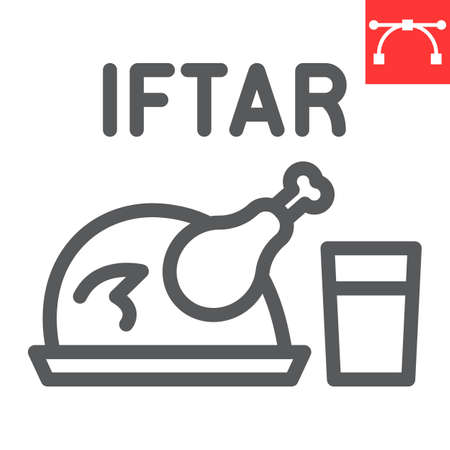 Iftar line icon, Happy Ramadan and religion, chicken food with water vector icon, vector graphics, editable stroke outline sign