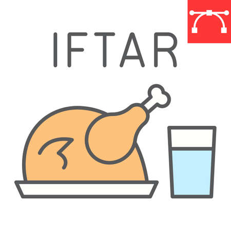 Iftar color line icon, Happy Ramadan and religion, chicken food with water vector icon, vector graphics, editable stroke filled outline sign Illusztráció