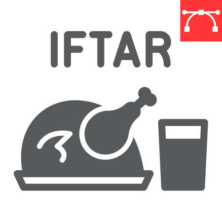 Iftar glyph icon, Happy Ramadan and religion, chicken food with water vector icon, vector graphics, editable stroke solid sign