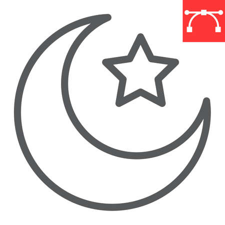 Star and crescent line icon, Happy Ramadan and muslim, islamic crescent vector icon, vector graphics, editable stroke outline sign Illusztráció