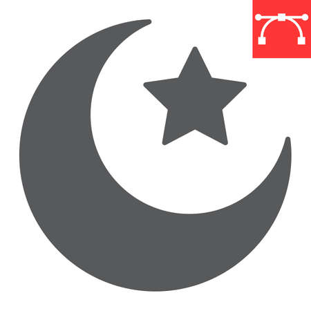 Star and crescent glyph icon, Happy Ramadan and muslim, islamic crescent vector icon, vector graphics, editable stroke solid sign 向量圖像
