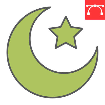Star and crescent color line icon, Happy Ramadan and muslim, islamic crescent vector icon, vector graphics, editable stroke filled outline sign Illusztráció