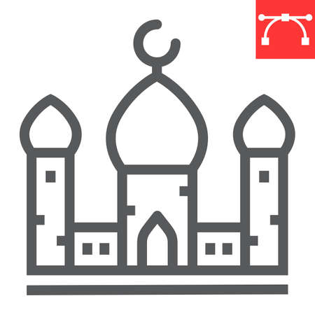 Mosque line icon, architecture and religion, islamic mosque vector icon, vector graphics, editable stroke outline sign