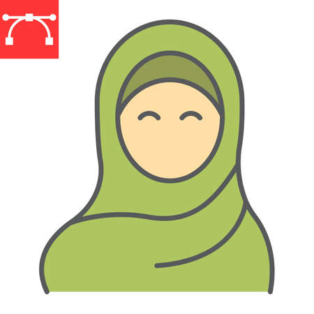 Woman wearing hijab color line icon, arab girl and religion, muslim woman vector icon, vector graphics, editable stroke filled outline sign