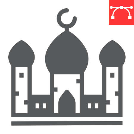 Mosque glyph icon, architecture and religion, islamic mosque vector icon, vector graphics, editable stroke solid sign