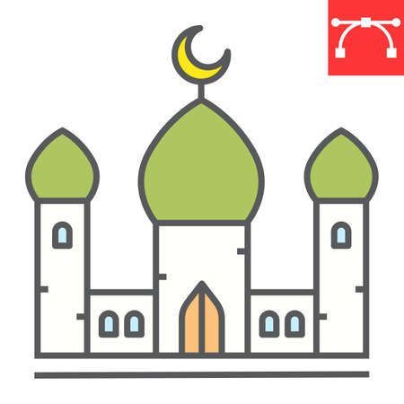 Mosque color line icon, architecture and religion, islamic mosque vector icon, vector graphics, editable stroke filled outline sign Illusztráció