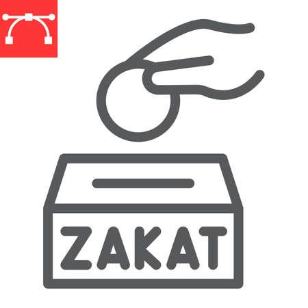 Zakat line icon, happy ramadan and donate, donation vector icon, vector graphics, editable stroke outline sign 向量圖像