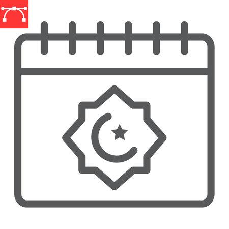Ramadan calendar line icon, happy ramadan and religion, islamic calendar vector icon, vector graphics, editable stroke outline sign 向量圖像