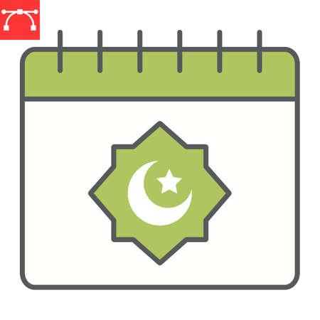 Ramadan calendar color line icon, happy ramadan and religion, islamic calendar vector icon, vector graphics, editable stroke filled outline sign
