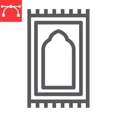 Prayer rug line icon, happy ramadan and religion, prayer carpet vector icon, vector graphics, editable stroke outline sign 向量圖像