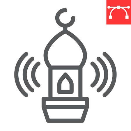 Adhan call line icon, happy ramadan and religion, mosque vector icon, vector graphics, editable stroke outline sign 向量圖像
