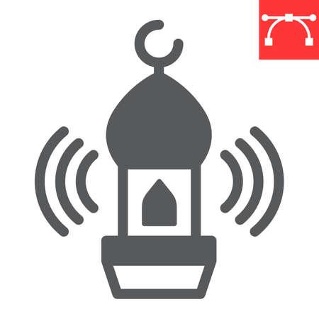 Adhan call glyph icon, happy ramadan and religion, mosque vector icon, vector graphics, editable stroke solid sign