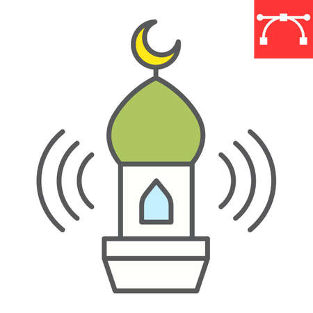 Adhan call color line icon, happy ramadan and religion, mosque vector icon, vector graphics, editable stroke filled outline sign