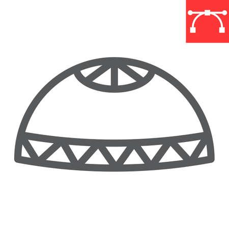 Muslim cap line icon, happy ramadan and religion, prayer cap vector icon, vector graphics, editable stroke outline sign