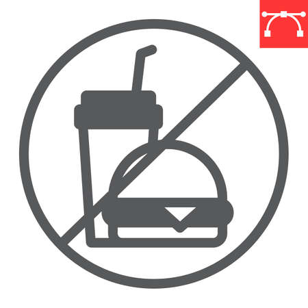 Do not eat glyph icon, prohibition and no eat, no fast food vector icon, vector graphics, editable stroke solid sign