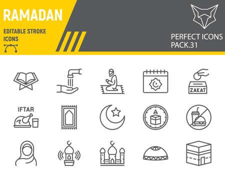 Ramadan line icon set, islam collection, vector graphics, logo illustrations, Happy Ramadan vector icons, arabic signs, outline pictograms, editable stroke.
