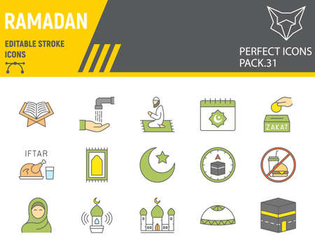 Ramadan color line icon set, islam collection, vector graphics, logo illustrations, Happy Ramadan vector icons, arabic signs, filled outline pictograms, editable stroke.