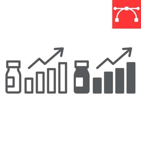 Vaccination statistics line and glyph icon, vaccination , growth and vial vector icon, vector graphics, editable stroke outline sign