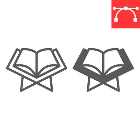 Open quran book line and glyph icon, Happy Ramadan and religion, koran book vector icon, vector graphics, editable stroke outline sign. Çizim