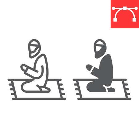 Muslim Prayer line and glyph icon, Happy Ramadan and religion, islamic prayer vector icon, vector graphics, editable stroke outline sign Çizim