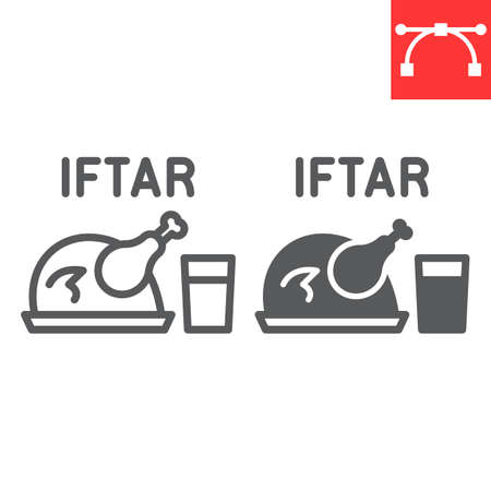 Iftar line and glyph icon, Happy Ramadan and religion, chicken food with water vector icon, vector graphics, editable stroke outline sign