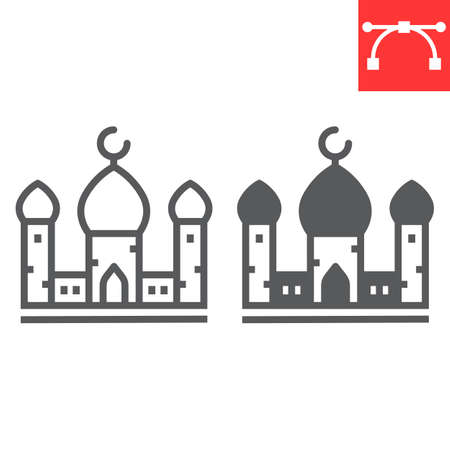 Mosque line and glyph icon, architecture and religion, islamic mosque vector icon, vector graphics, editable stroke outline sign