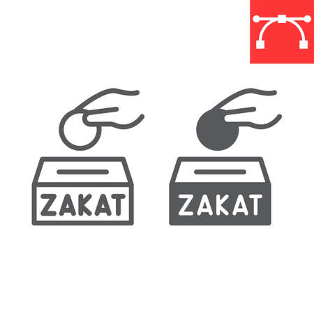 Zakat line and glyph icon, happy ramadan and donate, donation vector icon, vector graphics, editable stroke outline sign