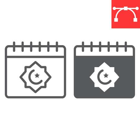 Ramadan calendar line and glyph icon, happy ramadan and religion, islamic calendar vector icon, vector graphics, editable stroke outline sign