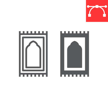 Prayer rug line and glyph icon, happy ramadan and religion, prayer carpet vector icon, vector graphics, editable stroke outline sign