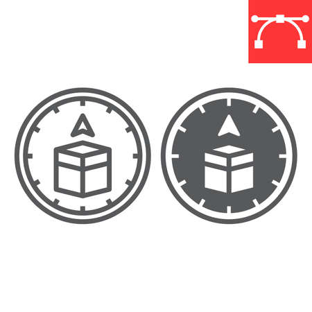 Qibla compass line and glyph icon, happy ramadan and religion, qibla compass vector icon, vector graphics, editable stroke outline sign, eps 10.