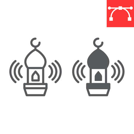 Adhan call line and glyph icon, happy ramadan and religion, mosque vector icon, vector graphics, editable stroke outline sign
