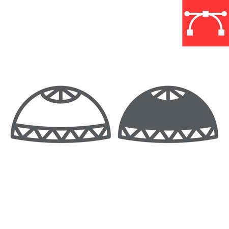 Muslim cap line and glyph icon, happy ramadan and religion, prayer cap vector icon, vector graphics, editable stroke outline sign