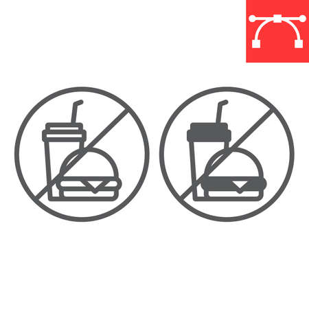 Do not eat line and glyph icon, prohibition and no eat, no fast food vector icon, vector graphics, editable stroke outline sign