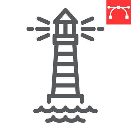 Lighthouse line icon, sea and ocean, lighthouse vector icon, vector graphics, editable stroke outline sign