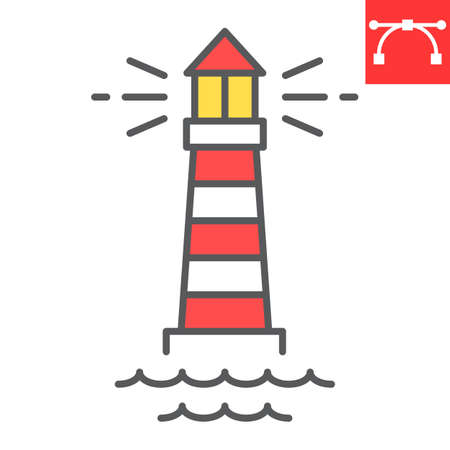 Lighthouse color line icon, sea and ocean, lighthouse vector icon, vector graphics, editable stroke filled outline sign Çizim
